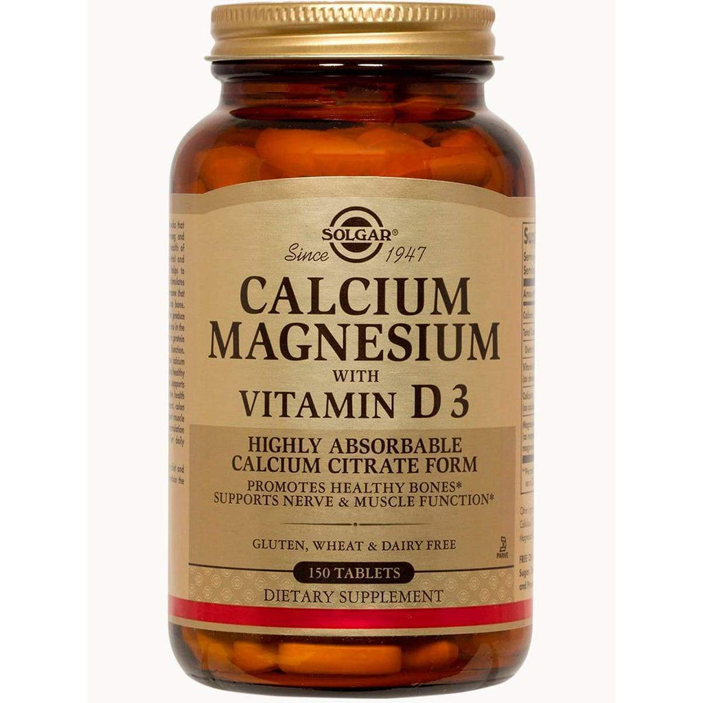 Calcium Magnesium with Vitamin D3 150 Tablets – Solgar - Earthly Nutrition