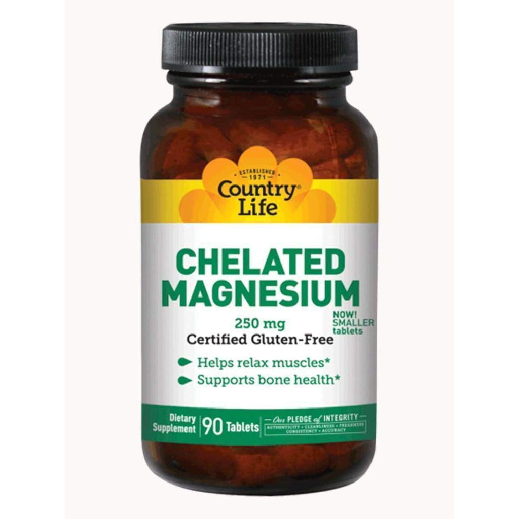 Chelated Magnesium 250mg 90 Tablets - Country Life - Earthly Nutrition