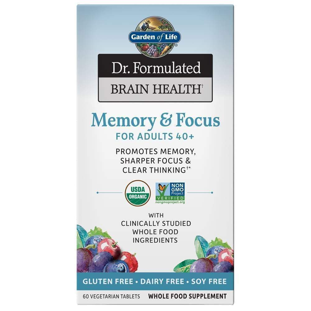 Dr. Formulated Brain & Focus Adults 40+ 60 vegetarian tabs - Earthly Nutrition
