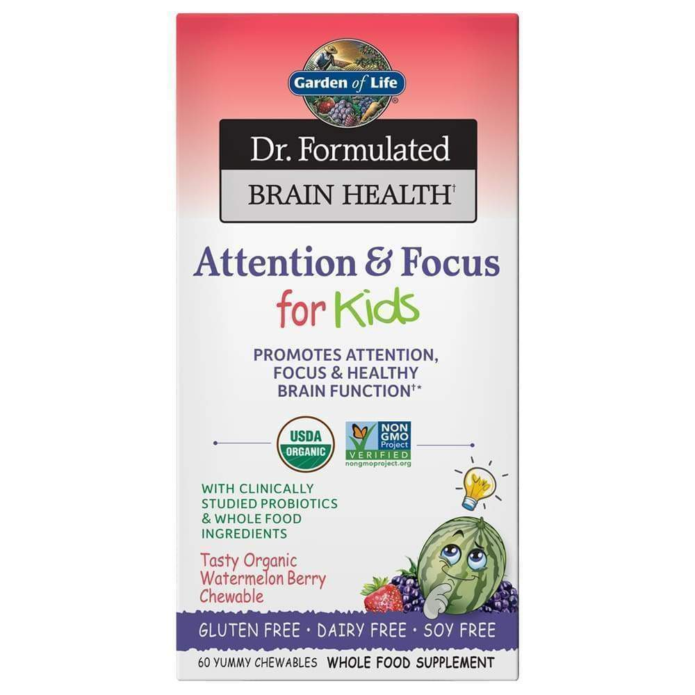 Dr. Formulated Organic Attention & Focus for Kids Watermelon Berry 60 chewables - Earthly Nutrition