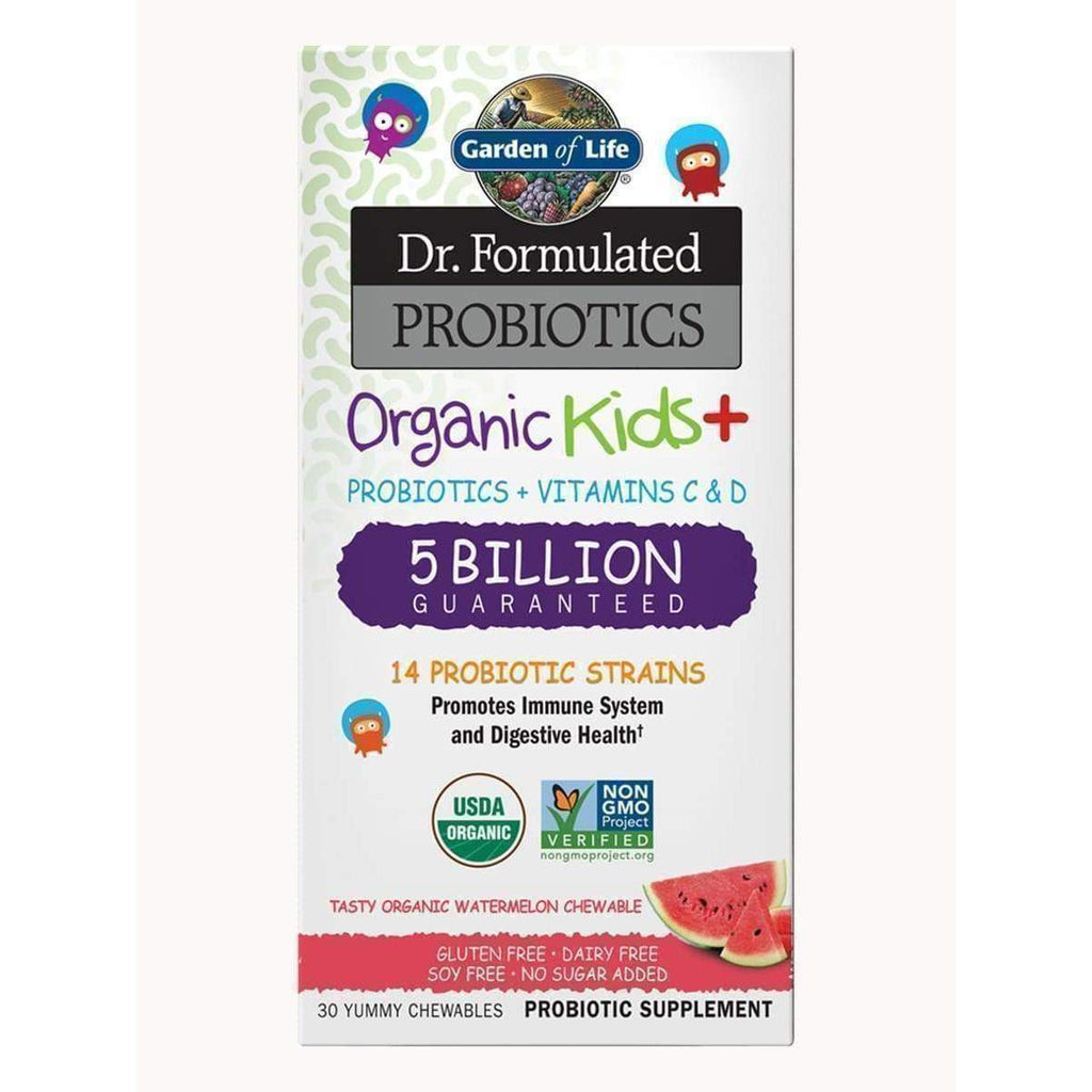 Dr. Formulated Probiotics Organic Kids+ 5 Billion Cooler - Organic Watermelon - 30 Chewables - Garden of Life - Earthly Nutrition