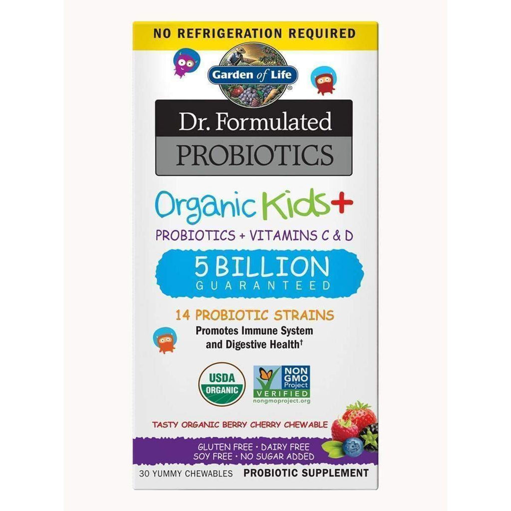 Dr. Formulated Probiotics Organic Kids+ 5 Billion Organic Berry Cherry - 30 Chewables - Garden of Life - Earthly Nutrition