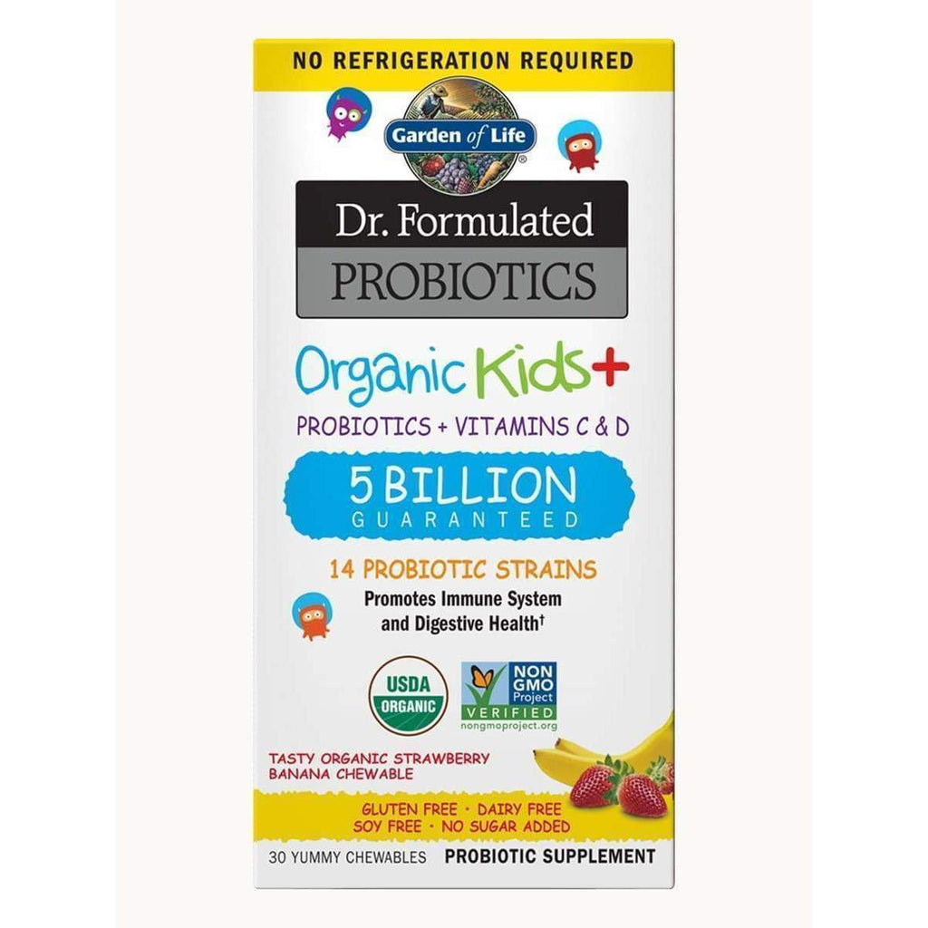 Dr. Formulated Probiotics Organic Kids+ 5 Billion Organic Strawberry Banana 30 Chewables - Earthly Nutrition