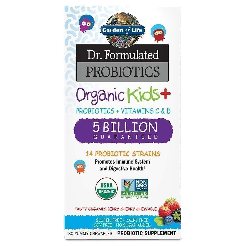 Dr. Formulated Probiotics Organic Kids+ Berry/Cherry 5 Billion CFU 30 chewables - Earthly Nutrition