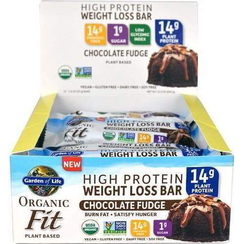 Organic Fit Weight Loss Protein Bars Chocolate Fudge - 12 Bars - Earthly Nutrition