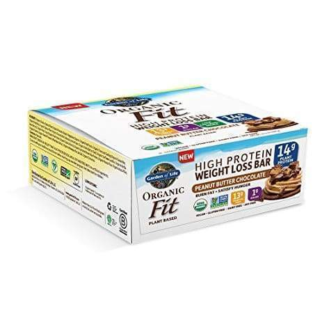 Organic Fit Weight Loss Protein Bars Peanut Butter Chocolate - 12 Bars - Earthly Nutrition