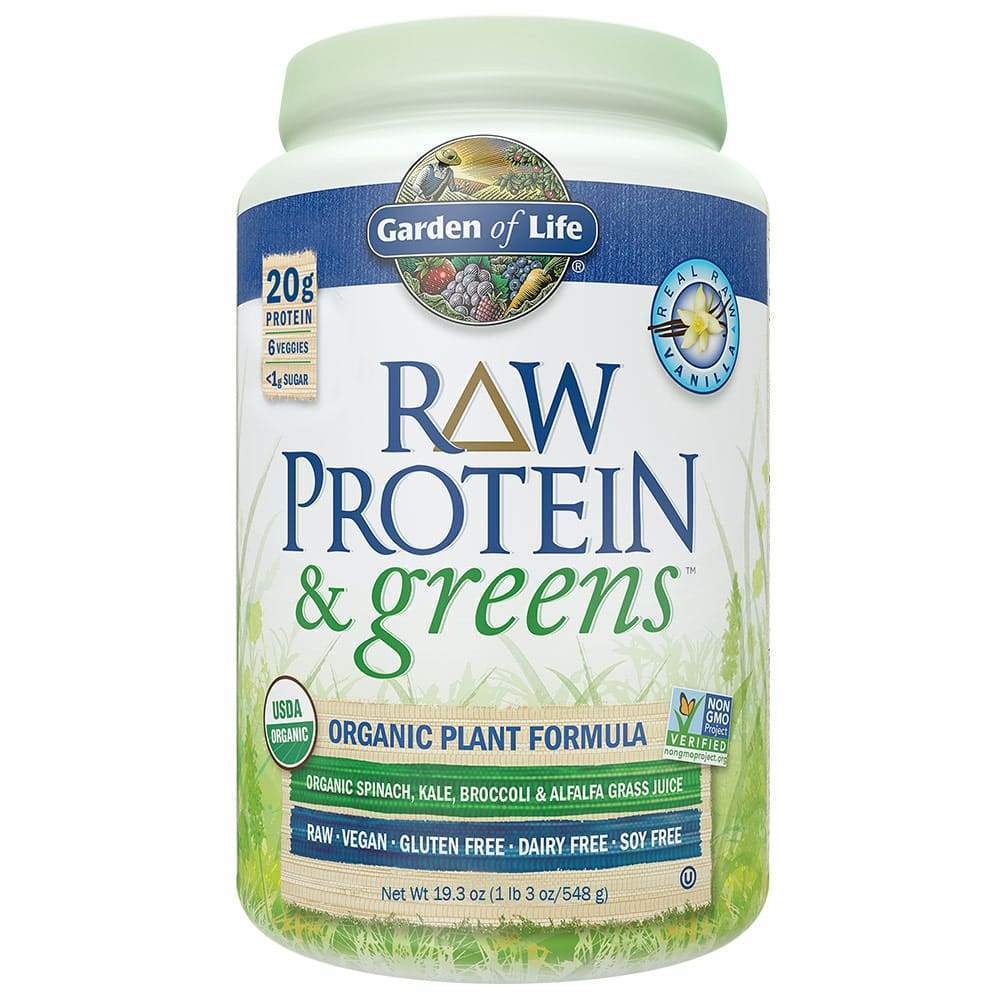 Organic Raw Protein & Greens Vanilla 19.3 oz - Earthly Nutrition