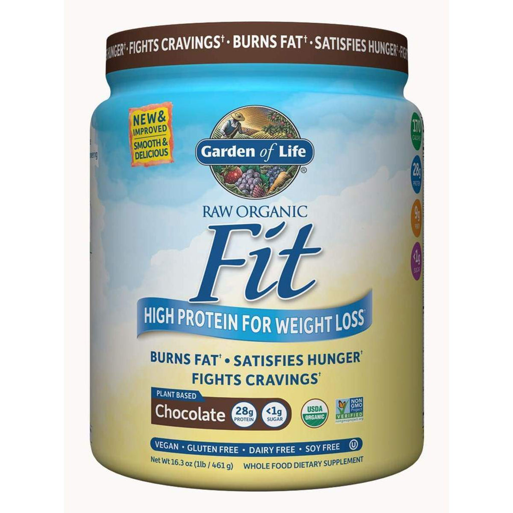 Raw Organic Fit Chocolate 461g Powder - Garden of Life - Earthly Nutrition
