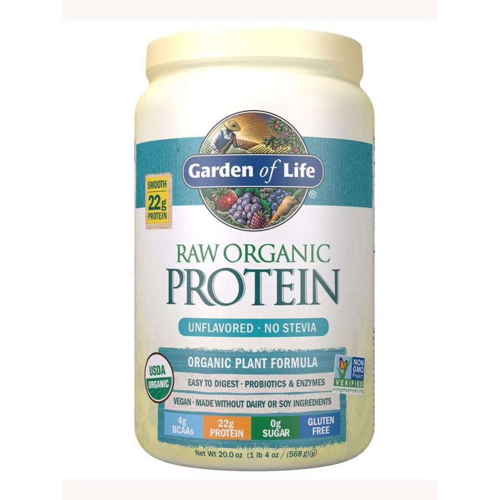 Raw Organic Protein Unflavored 568g Powder - Garden of Life - Earthly Nutrition