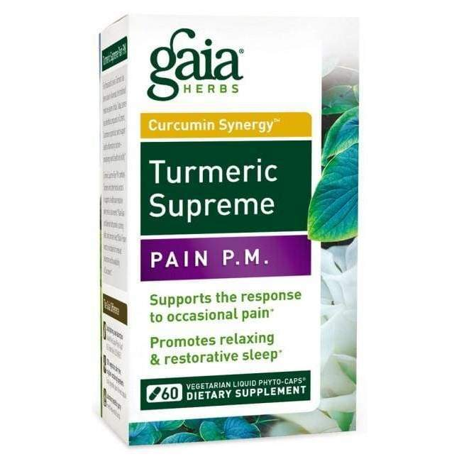 Turmeric Supreme Pain PM 30 vcap - Gaia Herbs - Earthly Nutrition