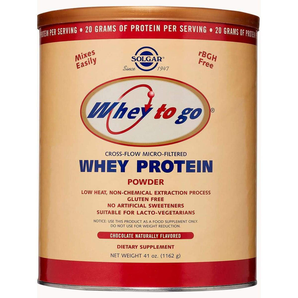 Whey to Go - Whey Protein Powder Chocolate 41 oz - Solgar - Earthly Nutrition