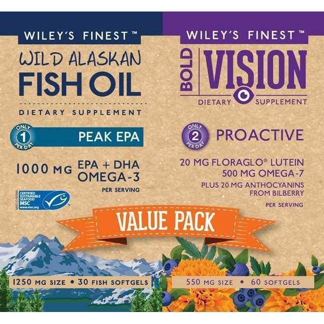 Wild Alaskan Fish Oil Peak EPA (30 softgels) and Bold Vision (60 softgels), PAIR-PACK - Earthly Nutrition
