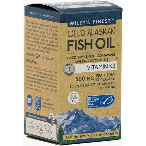 Wild Alaskan Fish Oil Vitamin K2, 60 capsules - Earthly Nutrition