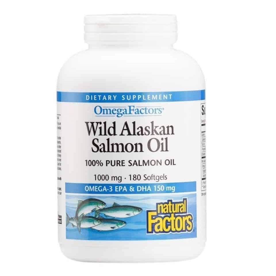 Wild Alaskan Salmon Oil 1000mg 90 softgels – Natural Factors - Earthly Nutrition