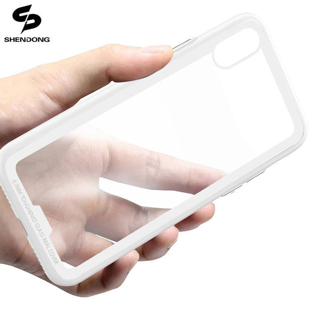 TPU Corner with Transparent Glass iPhone Case