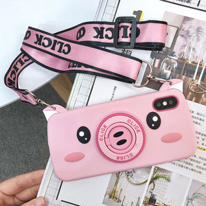 Cartoon Piggy With Camera Looks Silicone with Strap iPhone Case