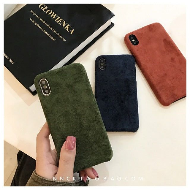 Simple Solid Color Corduroy iPhone Case