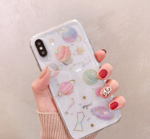 Transparent or Black Galaxy iPhone Case