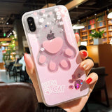 Cat Paw or Cherry Blossom with Glittering inside iPhone Case