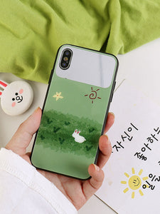 A Rabbit at Ground With Makeup Mirror Attach on iPhone Case
