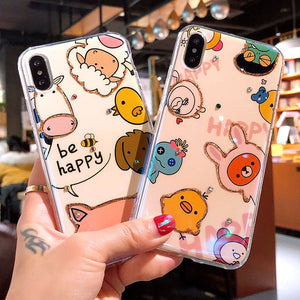 Hand Drawn Happy Cartoon Animals on iPhone Case