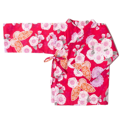 kimono butterfly floral red