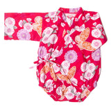 kimono one piece butterfly floral red