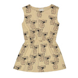 Mainio sleeveless boat neck dress with Grumpy Koala all-over pattern. Features a gathered waist and a slightly flared skirt.