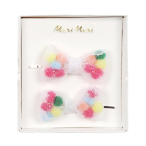Pompom bow hair slides