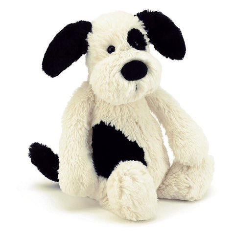 Jellycat bashful blk/crm puppy med