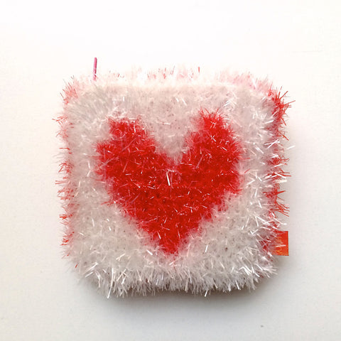 Tinsel heart pouch
