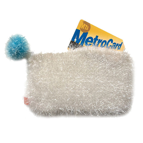 Tinsel white pouch with pompom