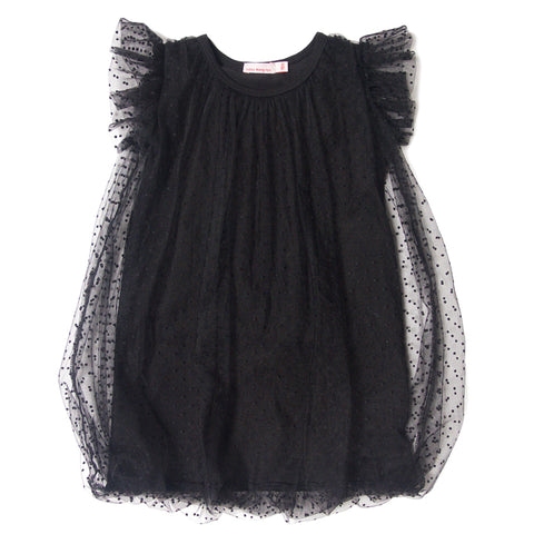 Swiss dots tulle dress black