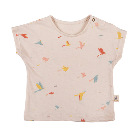 Red Caribou Tropical birds tee pink. Made of 100% Peruvian Pima Cotton. Made in Peru.