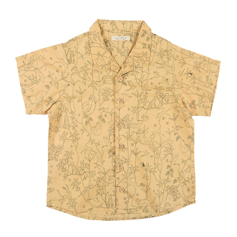 Red Caribou The canopy shirt ocre. Woven fabric 100% Cotton. Made in Peru.