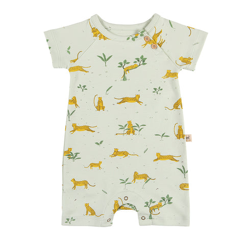 Red Caribou Ocelot s/s jumpsuit aqua. Made of 100% Peruvian Pima Cotton. Made in Peru.