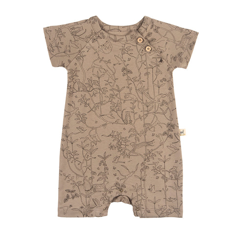Red Caribou The canopy s/s jumpsuit taupe. Made of 100% Peruvian Pima Cotton. Made in Peru.