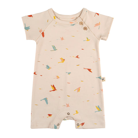 Red Caribou Tropical birds s/s jumpsuit pink. Made of 100% Peruvian Pima Cotton. Made in Peru.