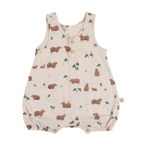 Red Caribou Capybara sleeveless jersey romper pink. Made of 100% Peruvian Pima Cotton. Made in Peru.