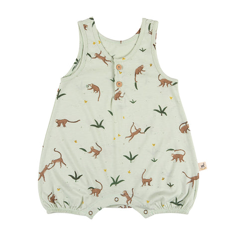 Red Caribou Monkeys sleeveless romper aqua. Made of 100% Peruvian Pima Cotton. Made in Peru.