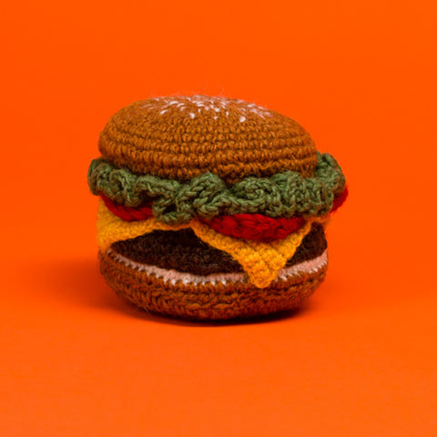 Dog toy- Hamburger hand knit