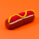 Dog toy- Hotdog hand knit
