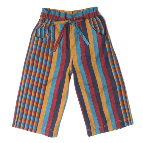 Basic Drawstring Stripe Pants Multi