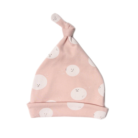 Knotted beanie- Moon face peach