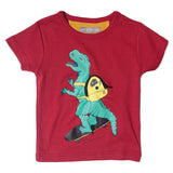 Milk On The Rocks Dino Tee Cassis. Slim body fit.