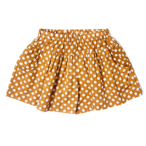 Girl Skort Dots Ochre