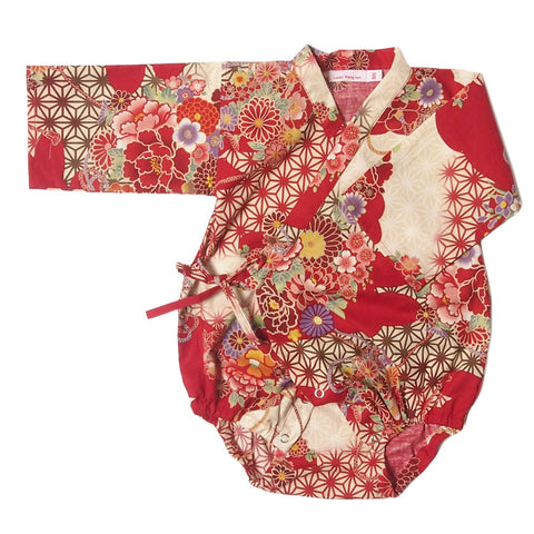 Kimono one piece cloud mum red