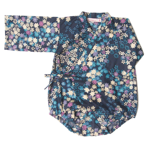 kimono one piece maple leaves blue