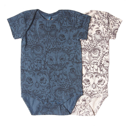 Allover owl print s/s bodysuit