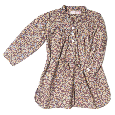 Patti dress mini floral plum l/s